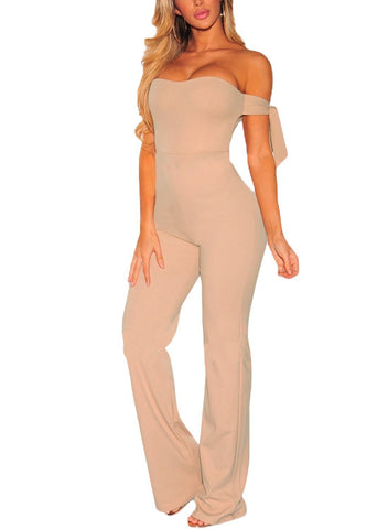 Off Shoulder Tie Knot Strapless Jumpsuit