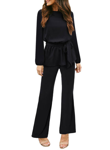 Tie Waist Peplum Long Sleeve Jumpsuit
