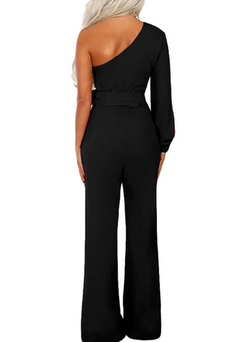 Asymmetric One Shoulder Wide Leg Solid Jumpsuit (LC64463-2-2)