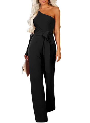 Asymmetric One Shoulder Wide Leg Solid Jumpsuit (LC64463-2-1)