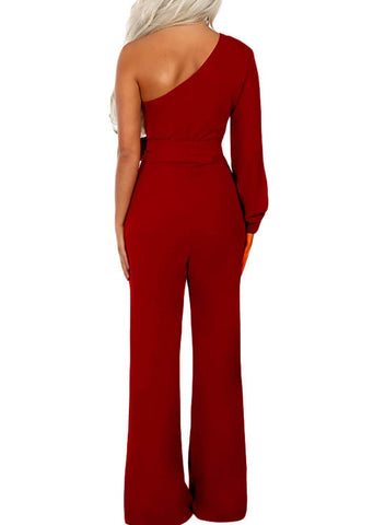 Image of Asymmetric One Shoulder Wide Leg Solid Jumpsuit (LC64463-3-2)