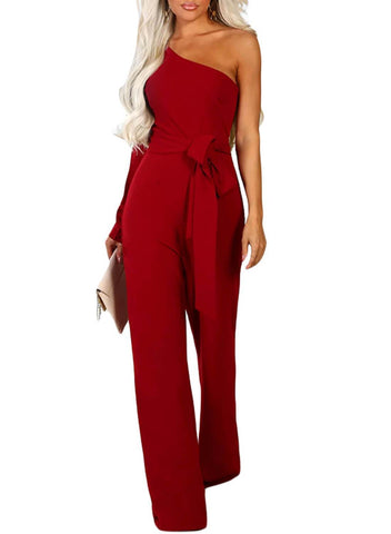 Asymmetric One Shoulder Wide Leg Solid Jumpsuit (LC64463-3-1)