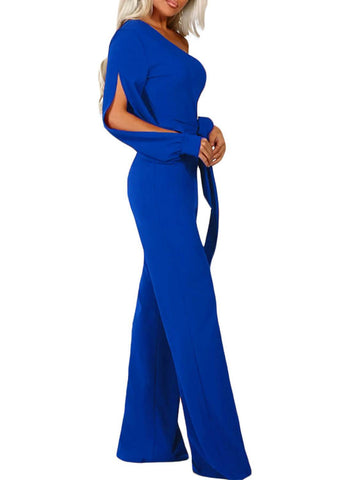 Asymmetric One Shoulder Wide Leg Solid Jumpsuit (LC64463-5-3)