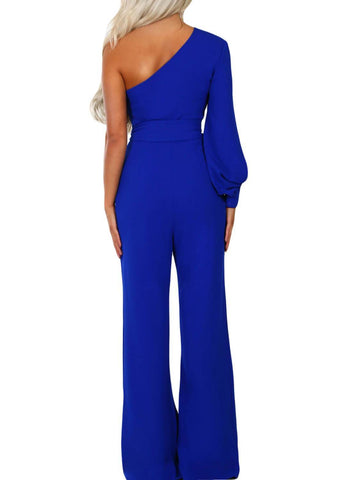 Asymmetric One Shoulder Wide Leg Solid Jumpsuit (LC64463-5-2)