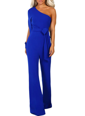 Asymmetric One Shoulder Wide Leg Solid Jumpsuit (LC64463-5-1)