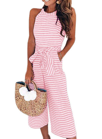 Striped Sleeveless Waist Belted Wide Leg Loose Jumpsuit(LC64598-10-1)