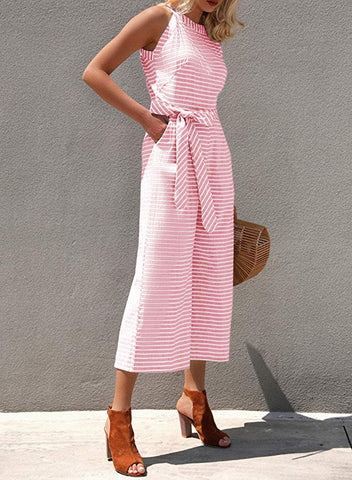Striped Sleeveless Waist Belted Wide Leg Loose Jumpsuit(LC64598-10-2)