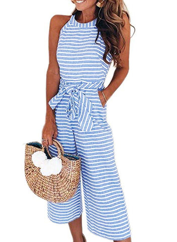 Striped Sleeveless Waist Belted Wide Leg Loose Jumpsuit(LC64598-4-1)