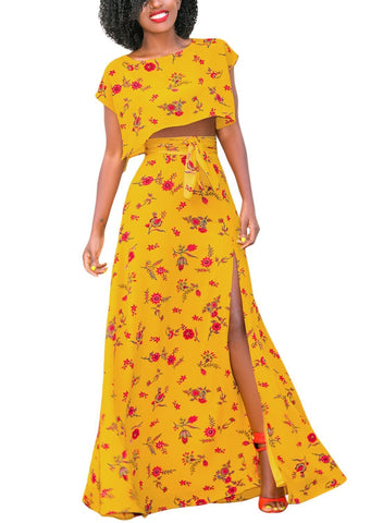 Floral Thigh Slit Maxi Skirt