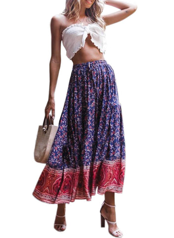 Image of Boho Floral Drawstring Skirts (LC65180-5-1)