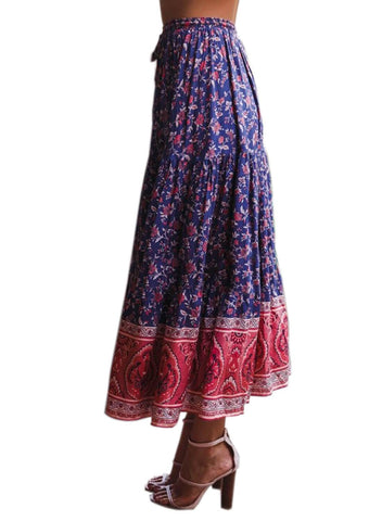 Image of Boho Floral Drawstring Skirts (LC65180-5-3)