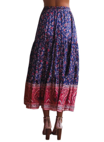 Image of Boho Floral Drawstring Skirts (LC65180-5-2)