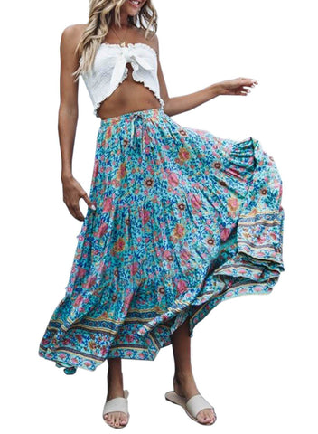 Image of Boho Floral Drawstring Skirts (LC65180-7-1)