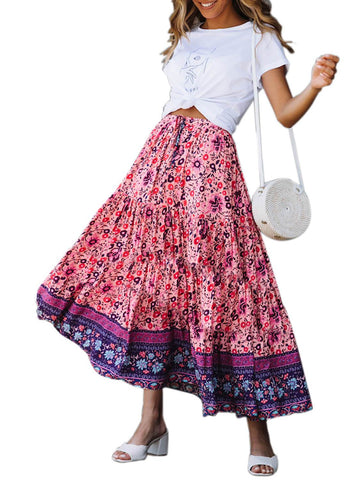 Image of Boho Floral Drawstring Skirts (LC65180-8-3)
