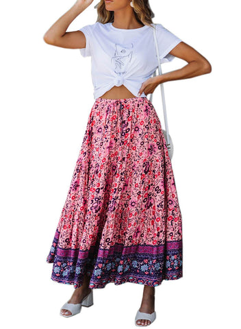 Image of Boho Floral Drawstring Skirts (LC65180-8-1)
