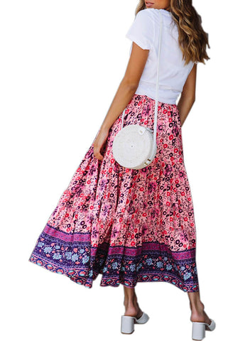 Image of Boho Floral Drawstring Skirts (LC65180-8-2)