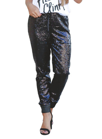 Image of Glitter Gang Sequin Satin Joggers