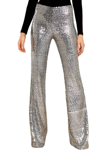 High Waist Sequin Bell-bottom Pants