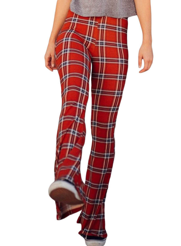 Retro Plaid Bell-bottom Pants