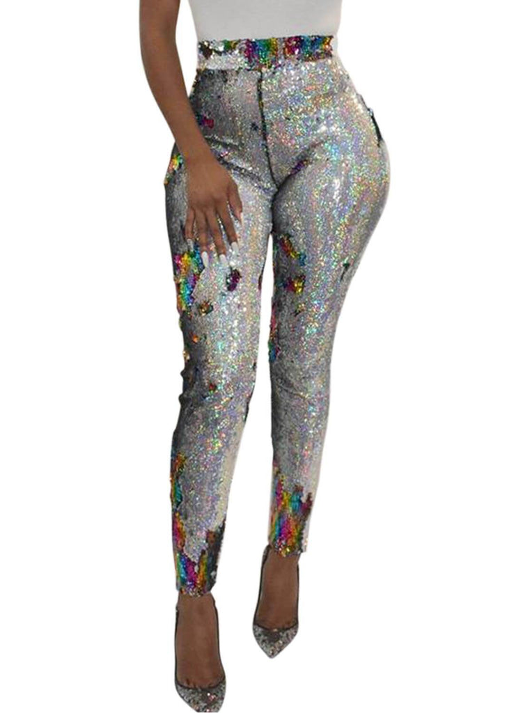 High Waist Retro Sequin Leggings