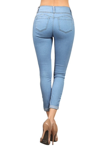 Image of Cuffed Butt Lifting Skinny Jeans