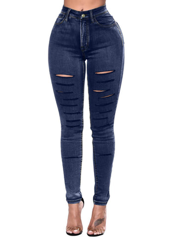 Image of Faded Denim Wash Leg Ripped Skinny Jeans