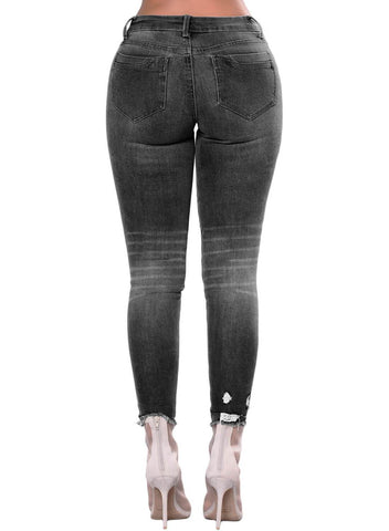 Distressed Raw Hem Denim Pants