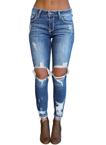 Washed Medium Waist Distressed Jeans