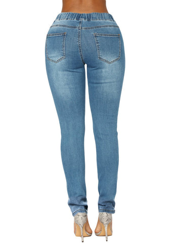 Image of Wash Elastic Drawstring Waist Denim Pants