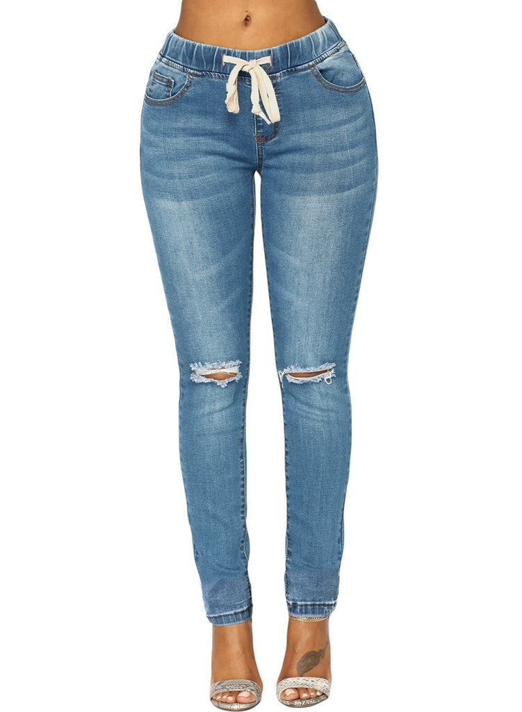 Wash Elastic Drawstring Waist Denim Pants