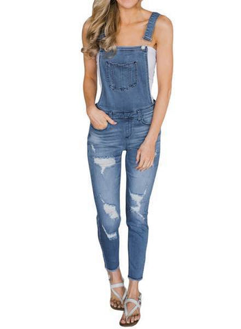 Denim Laidback Distressed Overalls