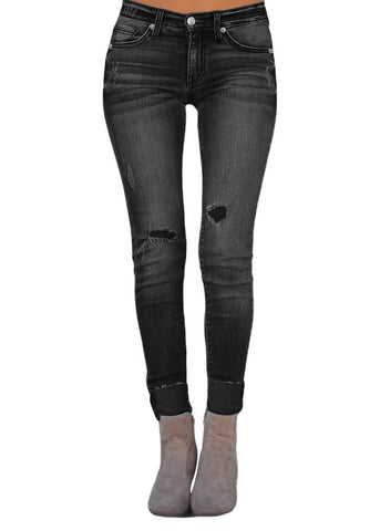 Image of Ripped Skinny Stretch Jeans