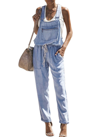 Denim Easygoing Drawstring Overalls (LC786049-4-3)
