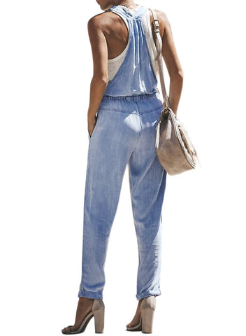 Denim Easygoing Drawstring Overalls (LC786049-4-2)