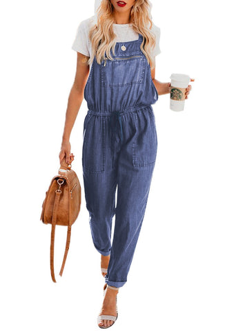 Denim Easygoing Drawstring Overalls (LC786049-5-1)