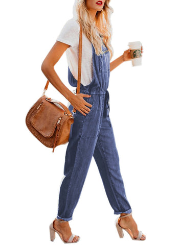 Denim Easygoing Drawstring Overalls (LC786049-5-3)