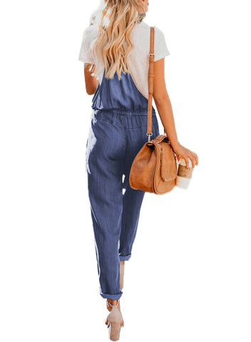 Denim Easygoing Drawstring Overalls (LC786049-5-2)