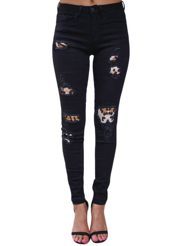 Image of High Waist Leopard Splice Distressed Jeans