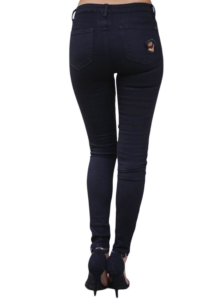 High Waist Leopard Splice Distressed Jeans