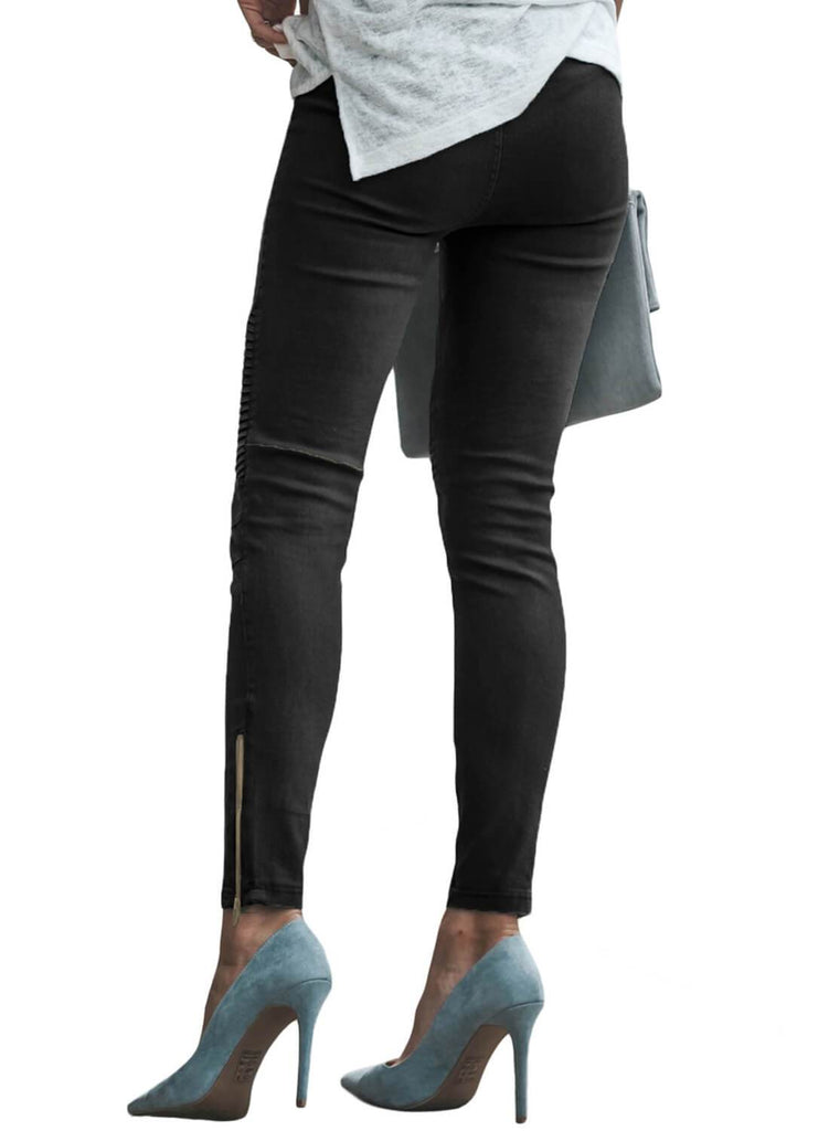 Patched Ruched Zip Bottom Skinny Jeans