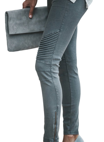 Image of Patched Ruched Zip Bottom Skinny Jeans