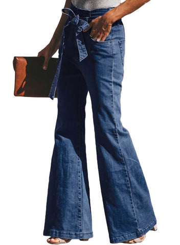 Image of Blue Wash Sash Tie Wide Leg Denim Pants(LC786110-5-3)