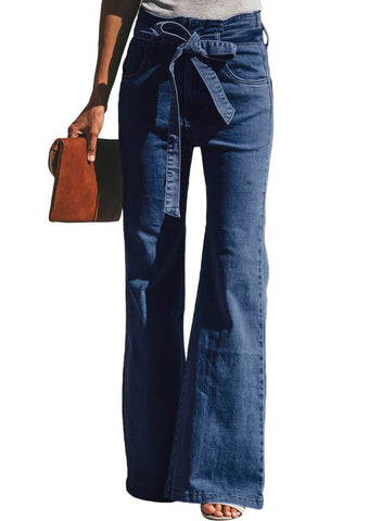 Blue Wash Sash Tie Wide Leg Denim Pants(LC786110-5-1)