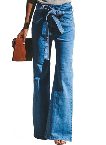Image of Retro Slim Fit Bell-Bottom Wide Flared Jeans