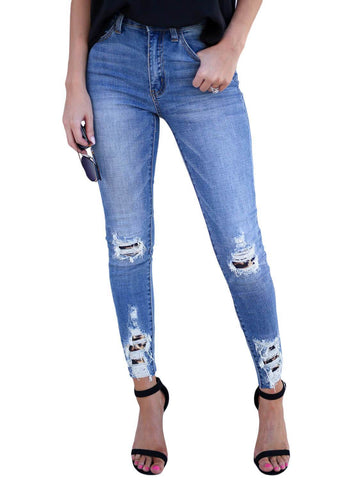 Image of Skinny Distressed High Waist Jeans