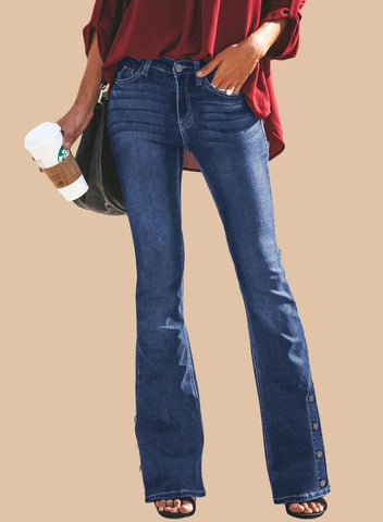 Image of Retro Slim Fit Side Buttons Bell-Bottom Wide Flared Jeans