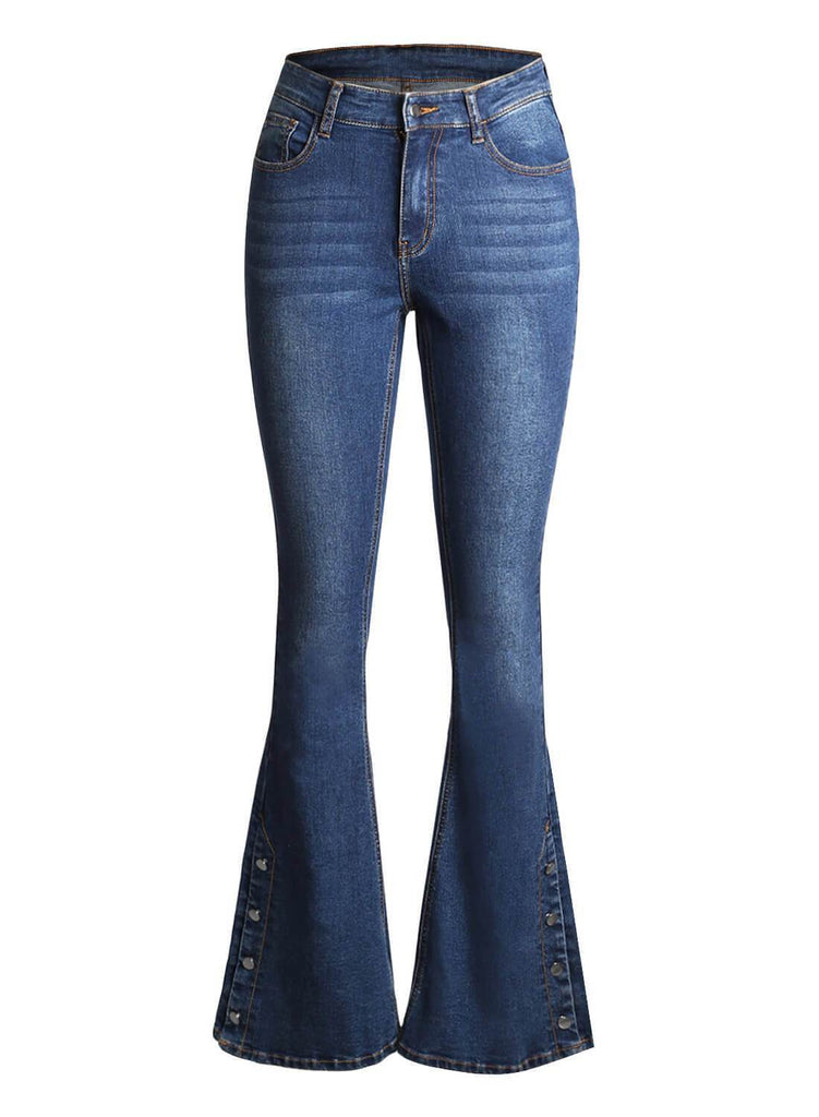 Retro Slim Fit Side Buttons Bell-Bottom Wide Flared Jeans