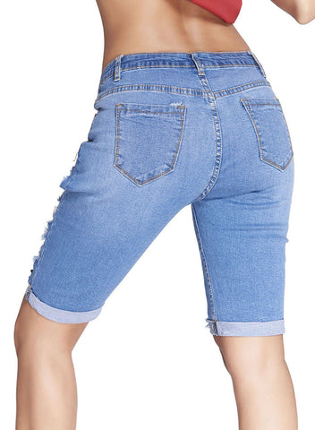 Image of Denim Destroyed Bermuda Shorts