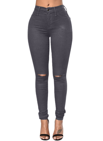 Trendy Slit Knee Denim Pants