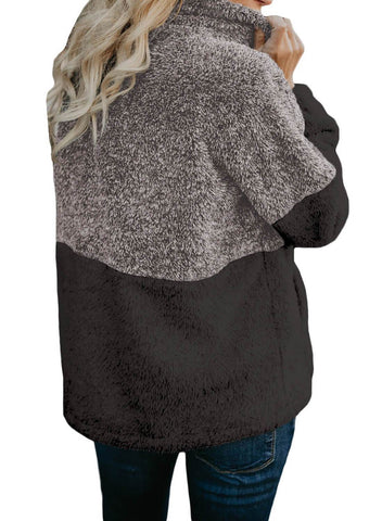Image of White Zip Neck Oversize Fluffy Fleece Pullover